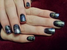 galaxy+freehand+nail+art