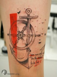 What does anchor and wheel tattoo mean? We have anchor and wheel tattoo ideas, designs, symbolism and we explain the meaning behind the tattoo. Bild Tattoos, Neue Tattoos, Tatoo Compass, Compass Rose, Anker Tattoo Design, Anchor Tattoos, Nautical Tattoos, Geniale Tattoos, Future Tattoos