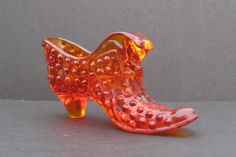 Fenton Glass Ambrina Orange Hobnail Cat Head by ALEXLITTLETHINGS, $28.00