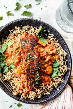 Blackened Salmon in Creamy Cajun Sauce - Carlsbad Cravings Salmon Recipe Pan, Baked Salmon Recipes, Fish Recipes, Seafood Recipes, Dinner Recipes, Cooking Recipes, Cajun Recipes, Blackened Salmon, Carlsbad Cravings