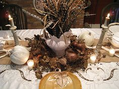 Wonderful Thanksgiving Table Settings Centerpieces and Decorations for Easy and Beautiful Ideas: Easy Thanksgiving Table Decorations Using Fall Harvest, Leaves and Stalk with White Pumpkins and Vintage Classic Candle Holder on the White Brown Tablecloth White Pumpkin Centerpieces, Thanksgiving Table Centerpieces, Vintage Centerpieces, Feather Centerpieces, Fall Wedding Centerpieces, Thanksgiving Table Settings, Thanksgiving Tablescapes, Diy Thanksgiving, Classic Candle Holders