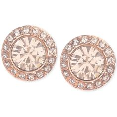 Givenchy Rose Gold-Tone Pave Button Stud Earrings featuring polyvore, fashion, jewelry, earrings, accessories, rose gold, pave earrings, givenchy, rose gold tone jewelry, pave jewelry and rose earrings