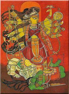 Durga by Ramananda Bandyopadhyay Durga Painting, Madhubani Painting, Indian Folk Art, Indian Artist, Spiritual Paintings, Spiritual Drawings, Indian Art Paintings, Modern Paintings, Shiva Art