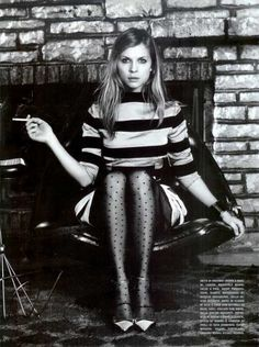 polka dot tights and stripes :) Clémence Poesy - French Vogue