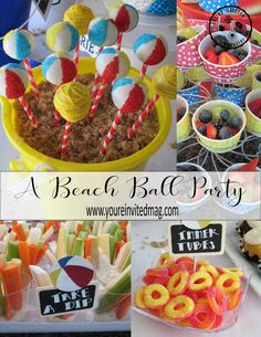 A Beach Ball Party - Beach Ball - Ideas of Beach Ball - Grab your pail and lets head to the pool party with these cute beach ball cake pops! Water Birthday Parties, Boy Pool Parties, Beach Ball Birthday, Beach Ball Party, Beach Ball Cake, Wild One Birthday Party, Safari Birthday Party, Beach Theme Parties, Beach Themed Desserts