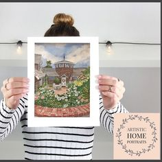 Hand painted watercolor house portrait. Custom painting of home. First Home Gifts, First Anniversary Gifts, Realtor Gifts, House Drawing, Hand Sketch, Watercolor Artwork, Cool Lighting, Custom Paint, That Way
