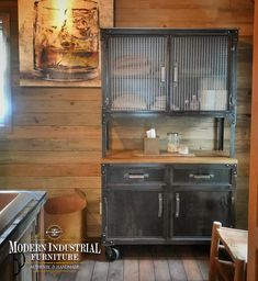 """The """"Hamilton"""" industrial hutch & sideboard cabinet is great piece that can be used anywhere in your home or office. It can be a china hutch, pantry, bathroom storage, office or wine-liquor cabinet. Modern Industrial style furniture handmade in the USA. Stay home and stay safe 🙏 we'll ship this free. #hutch #industrialhutch #Industrialbar #liquorcabinet #barshelves #homebar #masterbath #linencloset #modernindustrialfurniture Steel Cabinet, Low Cabinet, Sideboard Cabinet, Liquor Cabinet, Modern Industrial Furniture, Industrial Style Coffee Table, Vintage Industrial, Metal Furniture, Industrial House"""