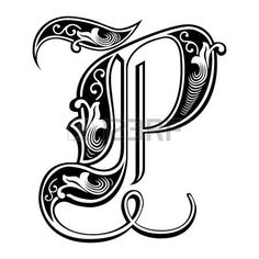 Bella decorazione alfabeti inglese, stile gotico, la lettera P photo