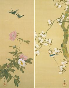 酒井抱一「十二ヶ月花鳥図」 Oriental Flowers, Japanese Screen, Asian Paints, Japanese Drawings, Japanese Painting, Japan Art, Gravure, Art Pictures, Art Museum