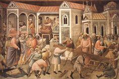 Agnolo Gaddi - Preparazione della Croce - affresco - 1380-1390 - Cappella Maggiore - Basilica Santa Croce, Firenze