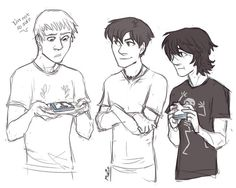 Jason, Nico and Percy eating blue food :)
