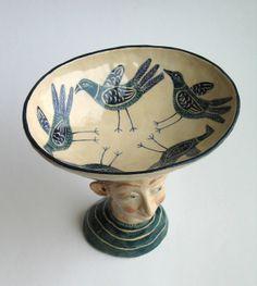 Boy Head Bird Bowl by Helen Kemp