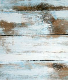 How sweet would this be in the kitchen... distressed wood horizontal stripes in turquoise and white... hmmm.