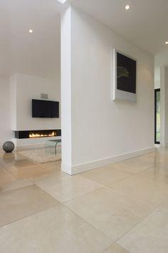 Basement ideas Alternative to going grey.  Papyrus Honed Limestone floor tiles from Mandarin Stone (UK).