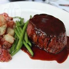 Fillet steak with red wine balsamic reduction.  I made this tonight and it was gorgeous with garlic and rosemary potatoes