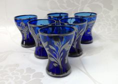 Hey, I found this really awesome Etsy listing at https://www.etsy.com/listing/207126624/shot-glasses-six-cobalt-blue-glass