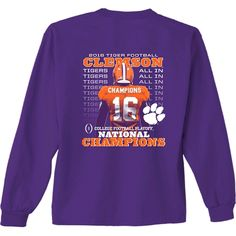 Clemson National Championship Jersey Long Sleeve | underthecarolinamoon.com