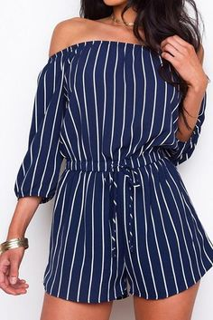 7624aa5668 Vertical Striped Navy Off Shoulder Romper With 3 4 Sleeves  fashion   clothing