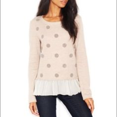 Maison Jules caviar-dotted layered-look top small Pair this adorable top with your favorite pair of skinny jeans or leggings. Maison Jules Tops