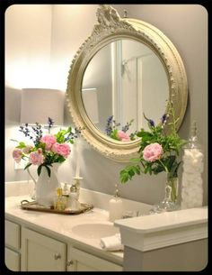 shabby chic bathroom, imagine with navy and cream striped walls and wainscoating.