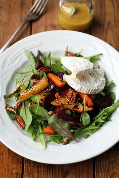 Roasted Root Vegetable and Goat Cheese Salad