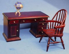 Miniature desk chair and globe in 1/12 scale