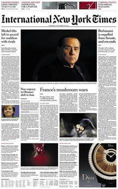 La prima pagina dell'International New York Times sulla decadenza di Berlusconi, 28, Nov. 2013