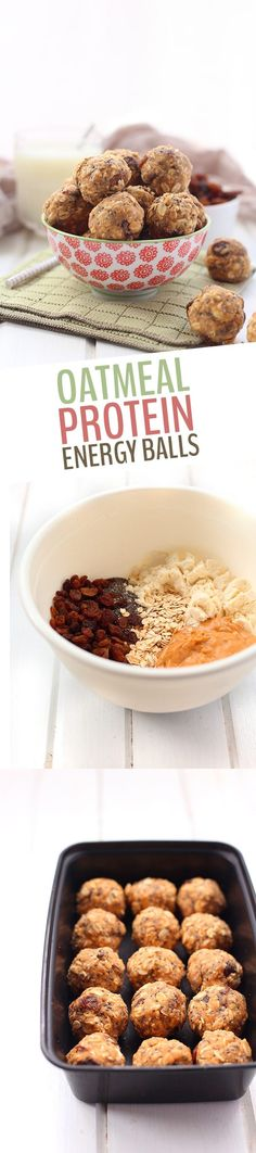 Healthy Snacks This simple and healthy little no bake oatmeal protein energy balls recipe is perfect for easy snacking on the go! With rolled oats, protein powder, peanut butter and a touch of honey, these energy balls will keep you satisfied for hours! Protein Snacks, Pancakes Protein, Protein Bites, Healthy Protein, Healthy Sweets, Healthy Baking, Healthy Snacks, Healthy Recipes, Protein Ball