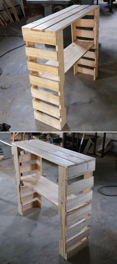 Wood patio table with umbrella hole and wood pallet outdoor furniture diy. - Wood patio table with umbrella hole and wood pallet outdoor furniture diy. Outdoor Pallet Projects, Pallet Patio, Wood Patio, Pallet Ideas, Patio Table, Pallet Bar, Pallet Wood, Pallet Bench, Garden Pallet