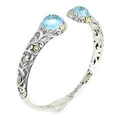 Carved Blue Topaz Sterling Silver Bangle with 18K Gold Accents | Cirque Jewels
