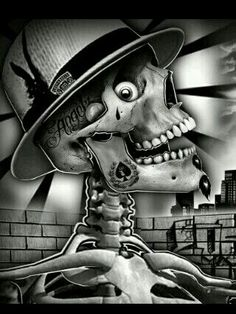 Skulls and skin Evil Skull Tattoo, Arte Lowrider, Chicano Art Tattoos, Cholo Art, Latino Art, Prison Art, Evil Art, La Art, Skeleton Art