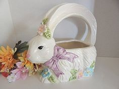 White Rabbit Basket Easter Bunny Planter  Ceramic Candy or Egg Dish Vintage 1990's  Easter Decor