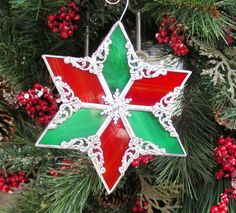 Red and Green Snowflake Ornament by MoreThanColors on Etsy, $28.50