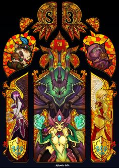 Stained Glass - Morgana, Teemo, Thresh, Kennen and Kayle
