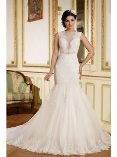 Luxurious Illusion Dropped Train Lace Ivory Sleeveless Wedding Dress with Appliques LWXT150AA #weddingdress #landybridal