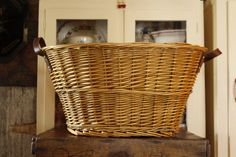 Vintage Laundry Basket Farmhouse Decor Leather by VandyleeVintage