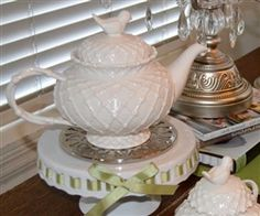 All White Trellis Design Footed Teapot with Bird Sweet for Tea Party $ ...