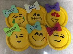 Emoji door decorations! Really simple--small yellow plates (purchase at any party store or some grocery stores), paper cut in the shape of bows (can be positioned as bow ties too), and sharpies to draw the faces of your choice.