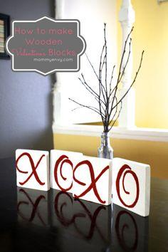 Wooden Valentine's Blocks - Mommy Envy