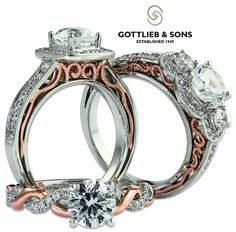 Just #SayYes to one of these #vintage inspired white and rose gold #engagement rings. http://www.gottlieb-sons.com/bridal/engagement-rings/29454