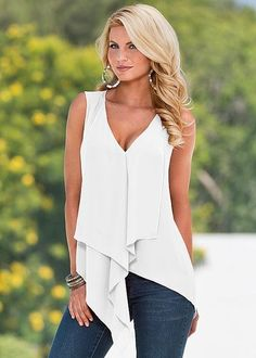 White Yellow Orange Red Purple Green Blue Irregular Women Top Summer Sleeveless Sexy Low Cut V Neck Blouse Shirt