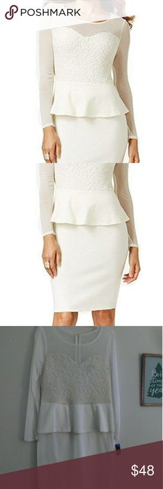 White Thalia Beautiful Illusion Peplum Dress BRAND New White Thalia dress.  Gorgeous and feminine. Perfect for the holidays or for a bride who would like a more casual feel! Zip closure. Knee lenhth. Illusion neck line and peplum detail. More of a soft white in color. Thalia Sodi Dresses Midi