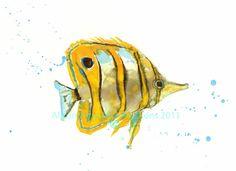 FISH Art - Giclee Fine Art Print - 8x10 inches - Tropical Trevor