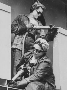 "detail of ""Chippers."" Women War Workers of Marinship Corp, 1942. - WWII propaganda photo, women war workers, shipyard, shipbuilding"