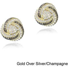 Glitzy Rocks Gold Over Silver 2/5ct TDW Diamond White Topaz Love Knot... ($85) ❤ liked on Polyvore featuring jewelry, earrings, white, diamond earrings, diamond stud earrings, silver diamond earrings, gold earrings and yellow gold stud earrings