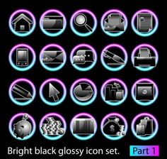 black glossy icon set 02 vector