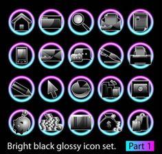 black glossy icon set 02 vector