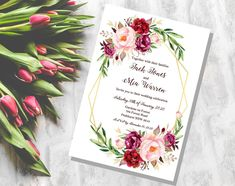 Wedding Invitation Template- Printable PDF Download - Save the Date card - Custom DIY made to order - RSVP Card - Floral - Thank You Card by PurpleElephantArtCo on Etsy Wedding Invitation Templates, Wedding Stationery, Wedding Invitations, Save The Date Cards, Celebrity Weddings, Thank You Cards, Rsvp, Your Cards, Floral Design