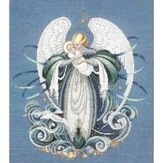 lavender and lace cross stitch | Angel of the Sea - a Lavender and Lace cross stitch pattern