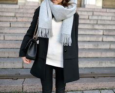 Fall winther grey scarf black coat jacket minimal street chic mariannan leather white